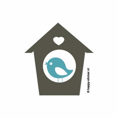a. Muursticker vogelhuisje (2 kleuren)