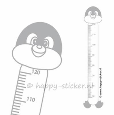 Groeimeter muursticker  Pinguin