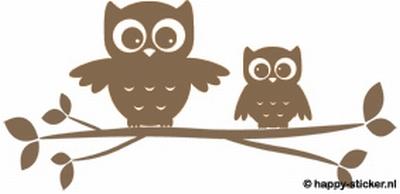 b. Muursticker 2 uilen op losse tak