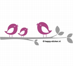 b. Muursticker 3 vogels op een tak (2 kleuren)