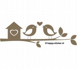 b. Muursticker 2 vogels en huisje op een tak