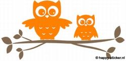 b. Muursticker 2 uilen op losse tak  (2 kleuren)