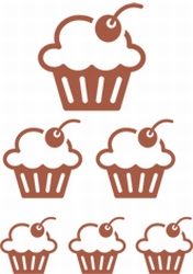 Stickervel Cupcakes (NIEUW)